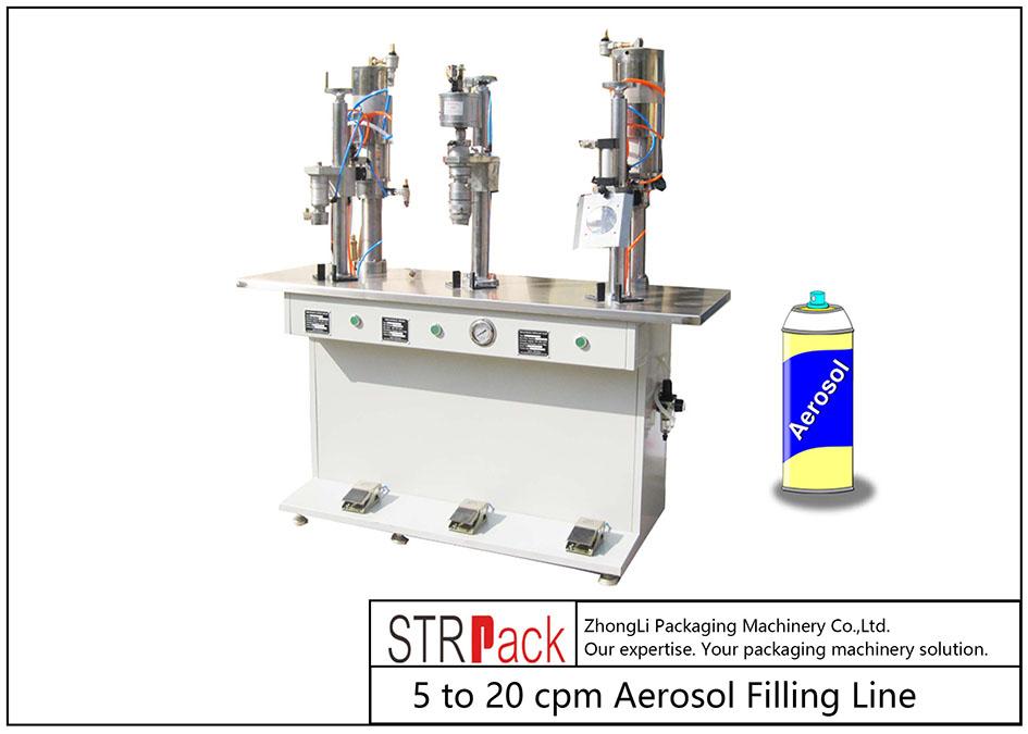 Polavtomatski avtomat za polnjenje aerosolov