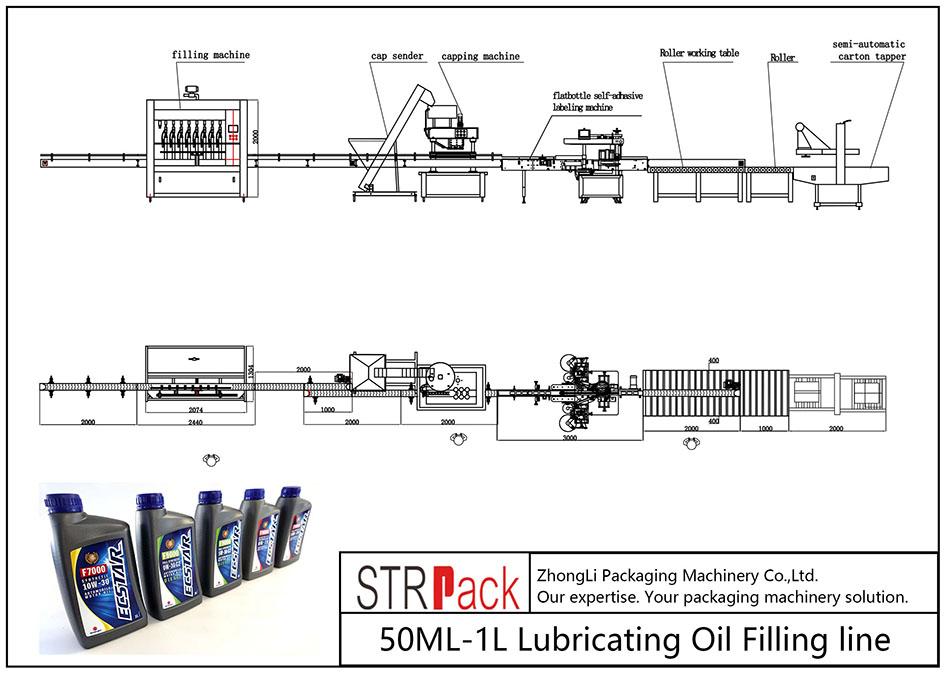 Samodejna linija za dolivanje mazalnega olja 50ML-1L