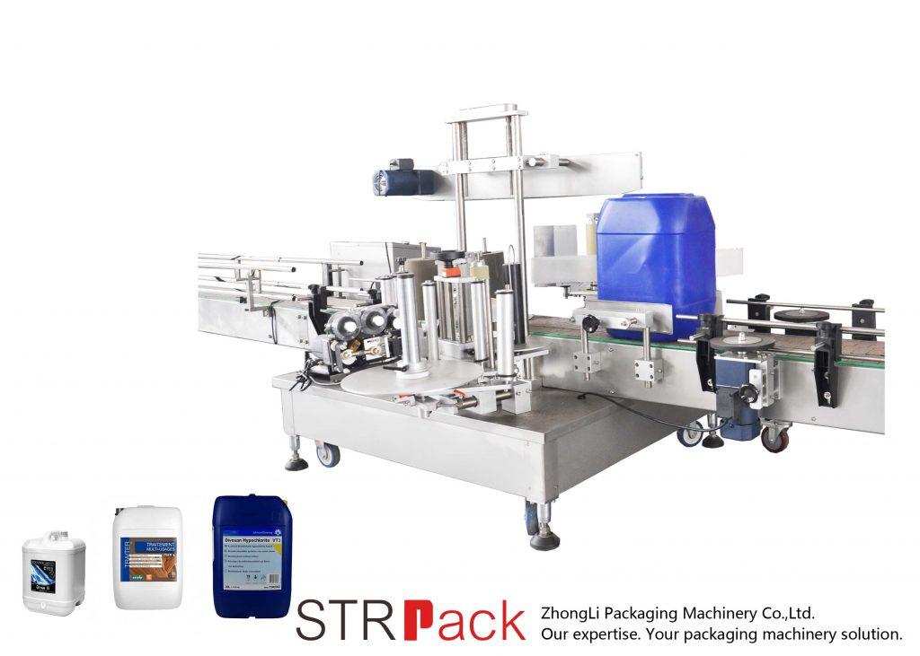 Avtomatski dvostranski stroj za etiketiranje za boben 5-25L