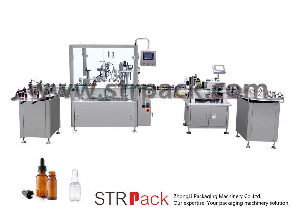 Avtomatski stroj za polnjenje in zapiranje steklenic s kapalko