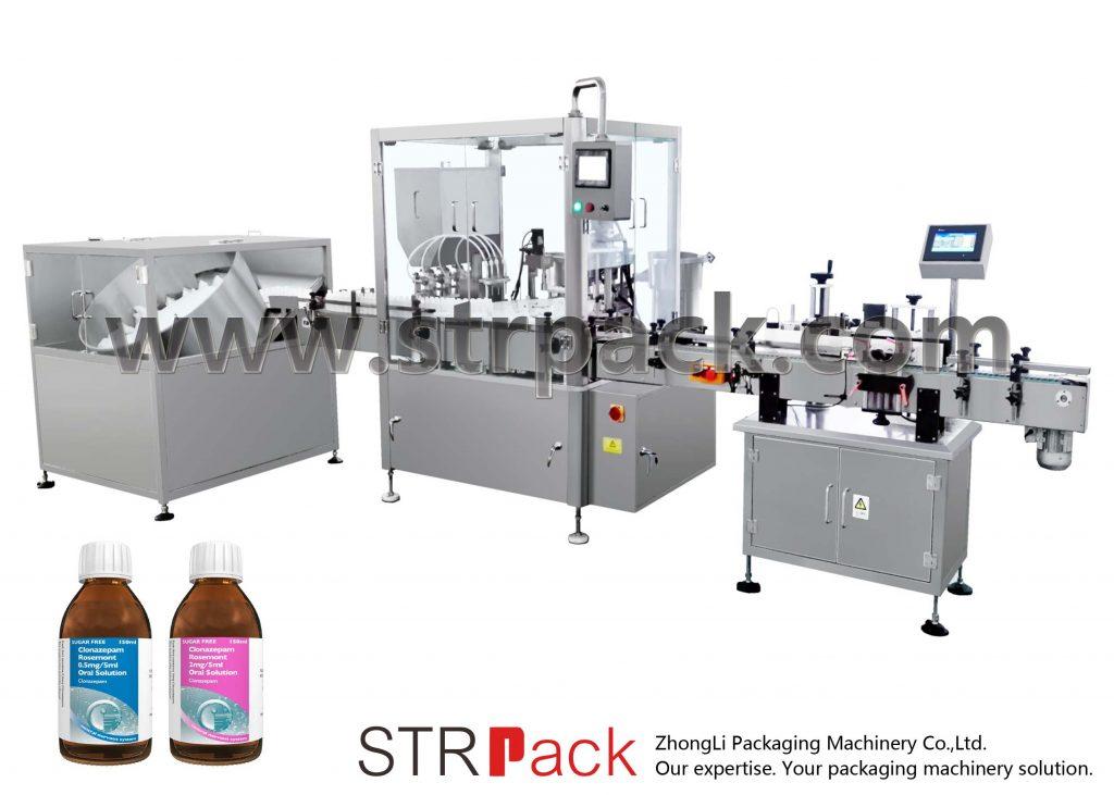Stroj za polnjenje in zapiranje peroralnega tekočega sirupa